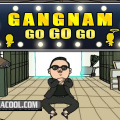 Simple arcade platformer title with the hot Gangnam style featured.